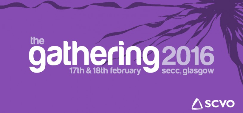 Purple banner image announcing The Gathering 2016, taking place 17th and 18th February 2016, at the SECC in Glasgow.