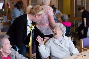 Mhairi Black laughs with her 'adopted grannie' at Westfield Care Home in Paisley