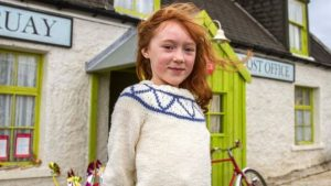 Cherry as Katie Morag on set