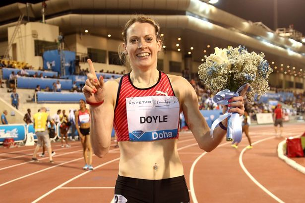 Eilidh Doyle after taking gold at the Diamond League in Doha