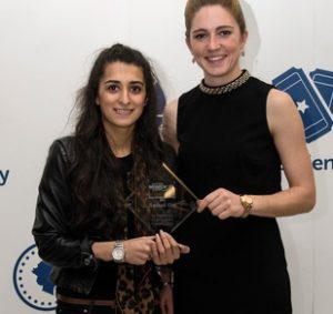 Aminah Din poses with her Scottish Women in Sport award