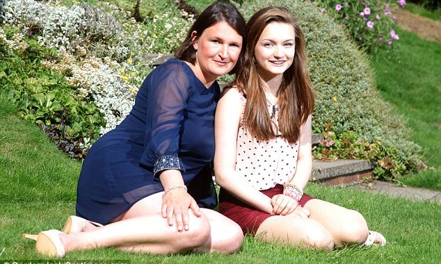 Emma Sutherland and Mum, Rosie, on the grass.