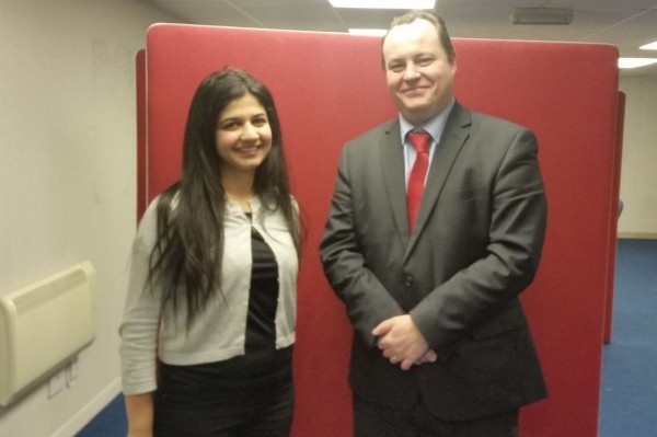 Roza Salih stands with MP Glasgow South East Chris Stephens